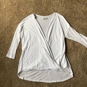 Long sleeve white wrap shirt